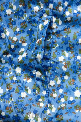 Geacă reversibilă cu căptușeală florală albastră
